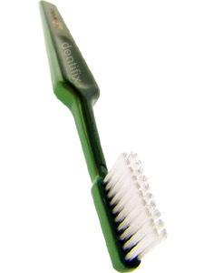 zweireihige Zahnbürste um um den Zahnspangen Draht herum die Zähne zu putzen